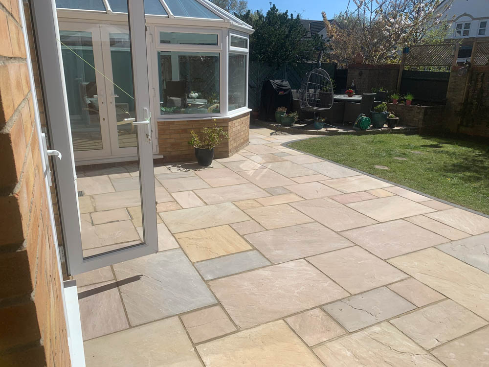Patio and fencing at Verwood by MJS Landshaping